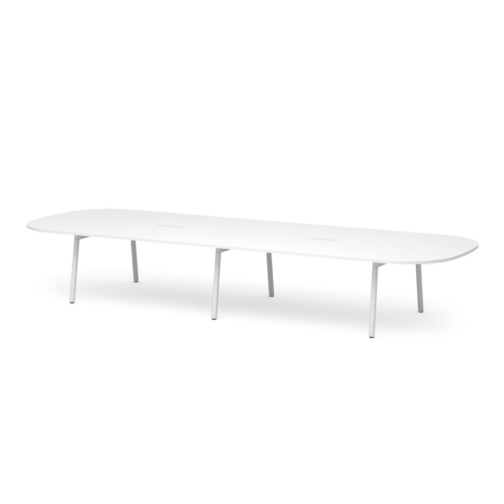 """Series A Scale Racetrack Conference Table, White, 180x60"""", White Legs"""