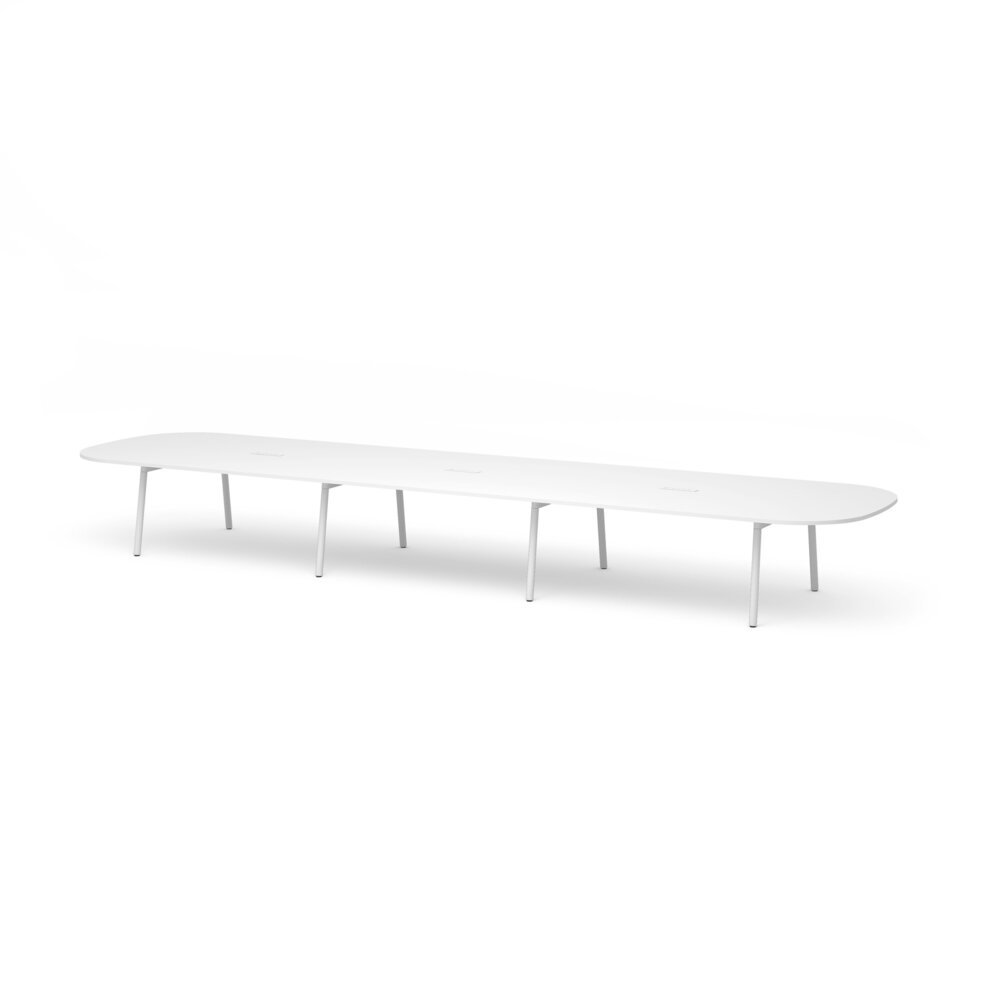 """Series A Scale Racetrack Conference Table, White, 246x60"""", White Legs"""