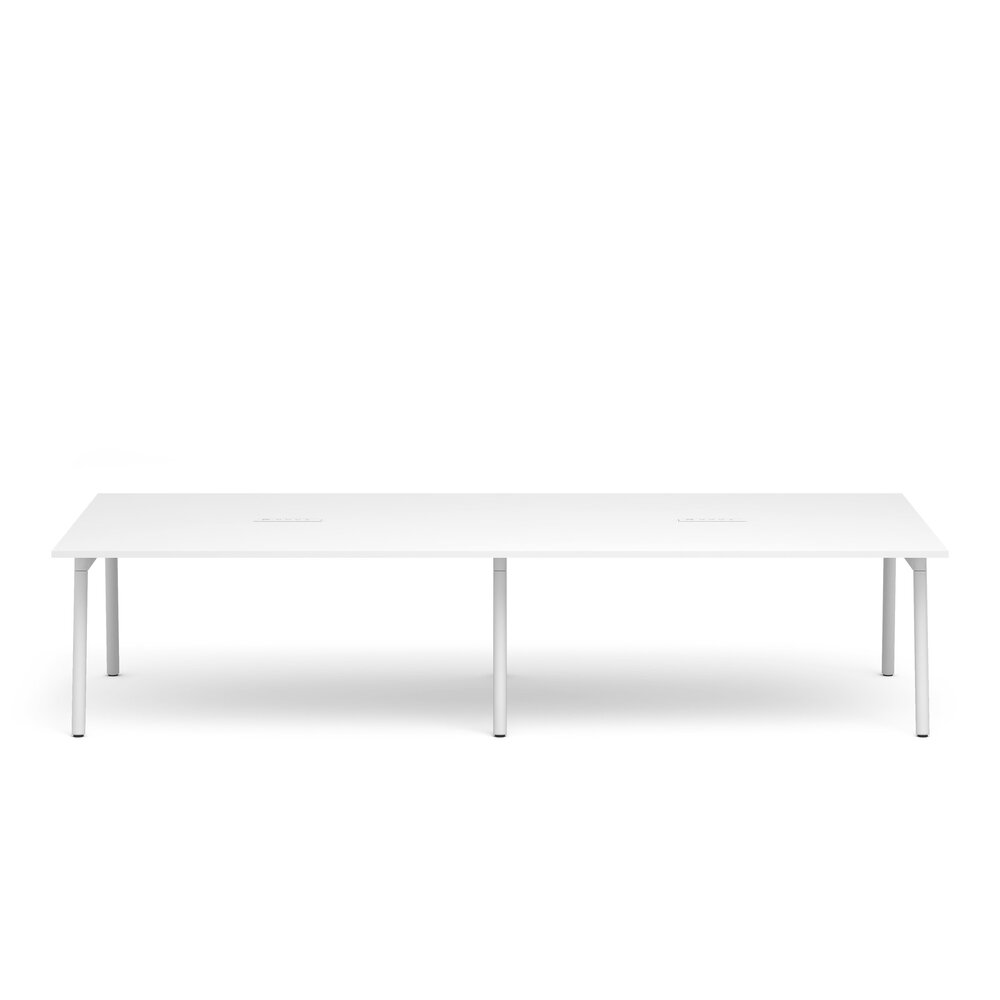 """Series A Scale Rectangular Conference Table, White, 132x60"""", White Legs"""