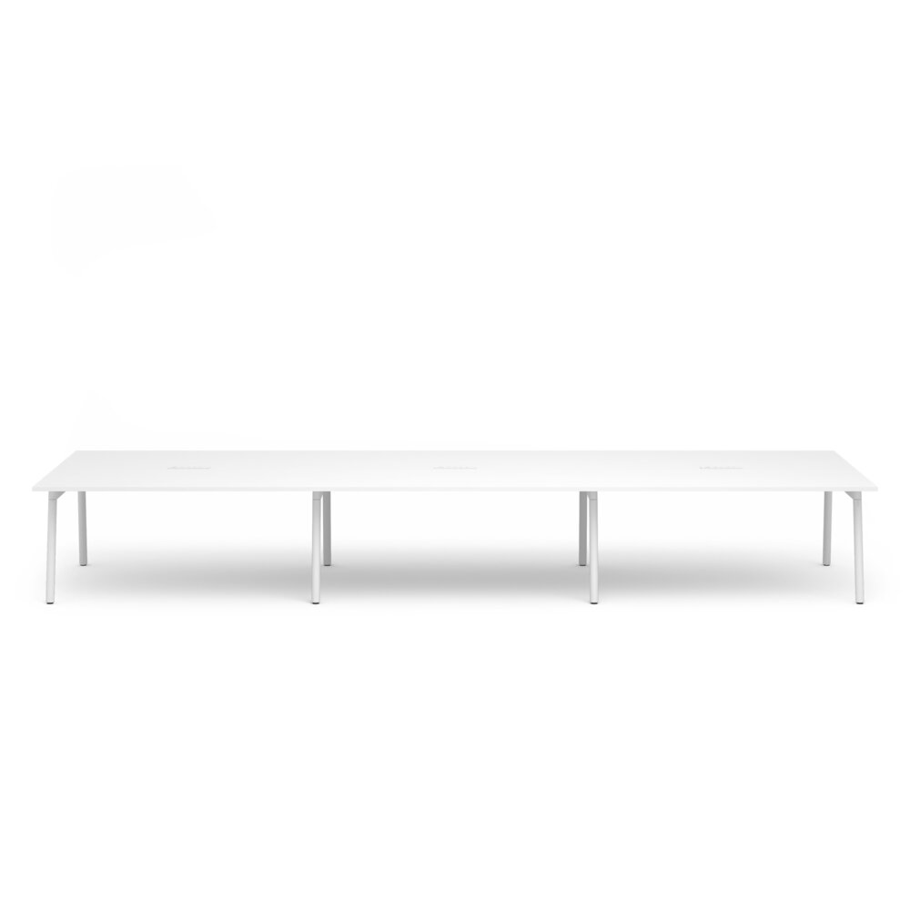 """Series A Scale Rectangular Conference Table, White, 198x60"""", White Legs"""