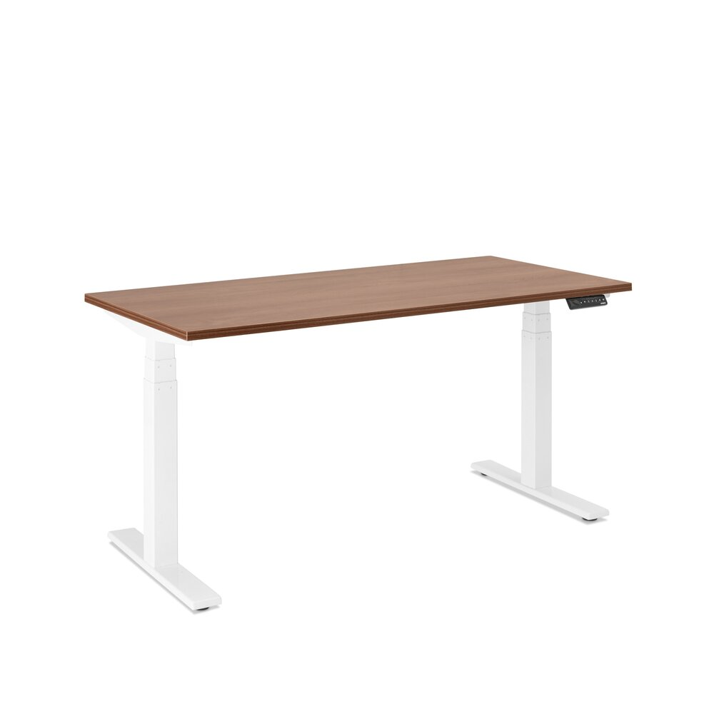 "Series L Adjustable Height Single Desk, Walnut, 57"", White Legs"