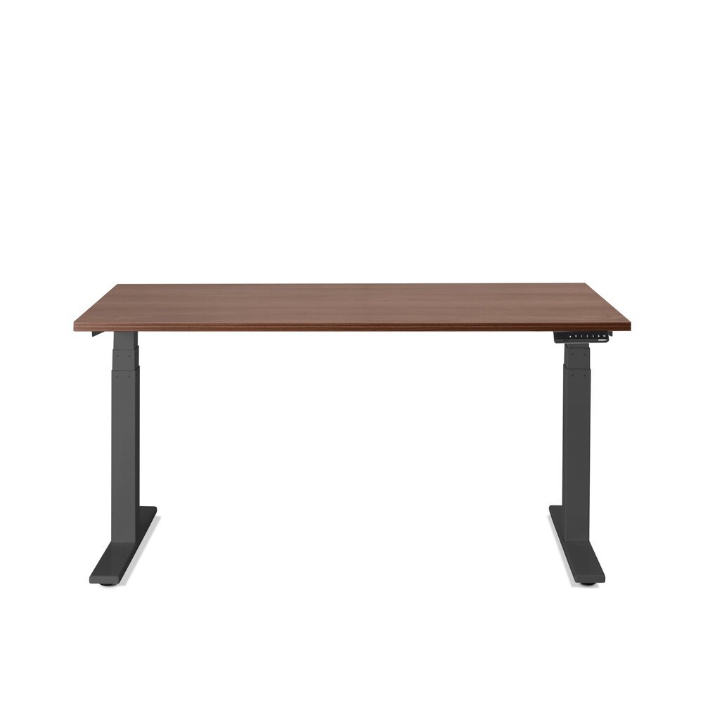 "Series L Adjustable Height Single Desk, Walnut, 57"", Charcoal Legs"