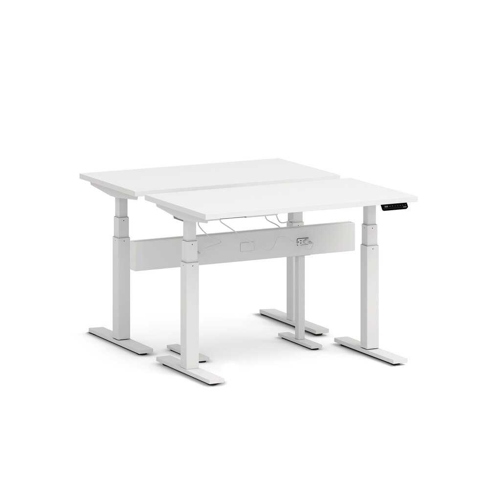 "Series L Desk for 2 + Boom Power Rail, White, 47"", White Legs"
