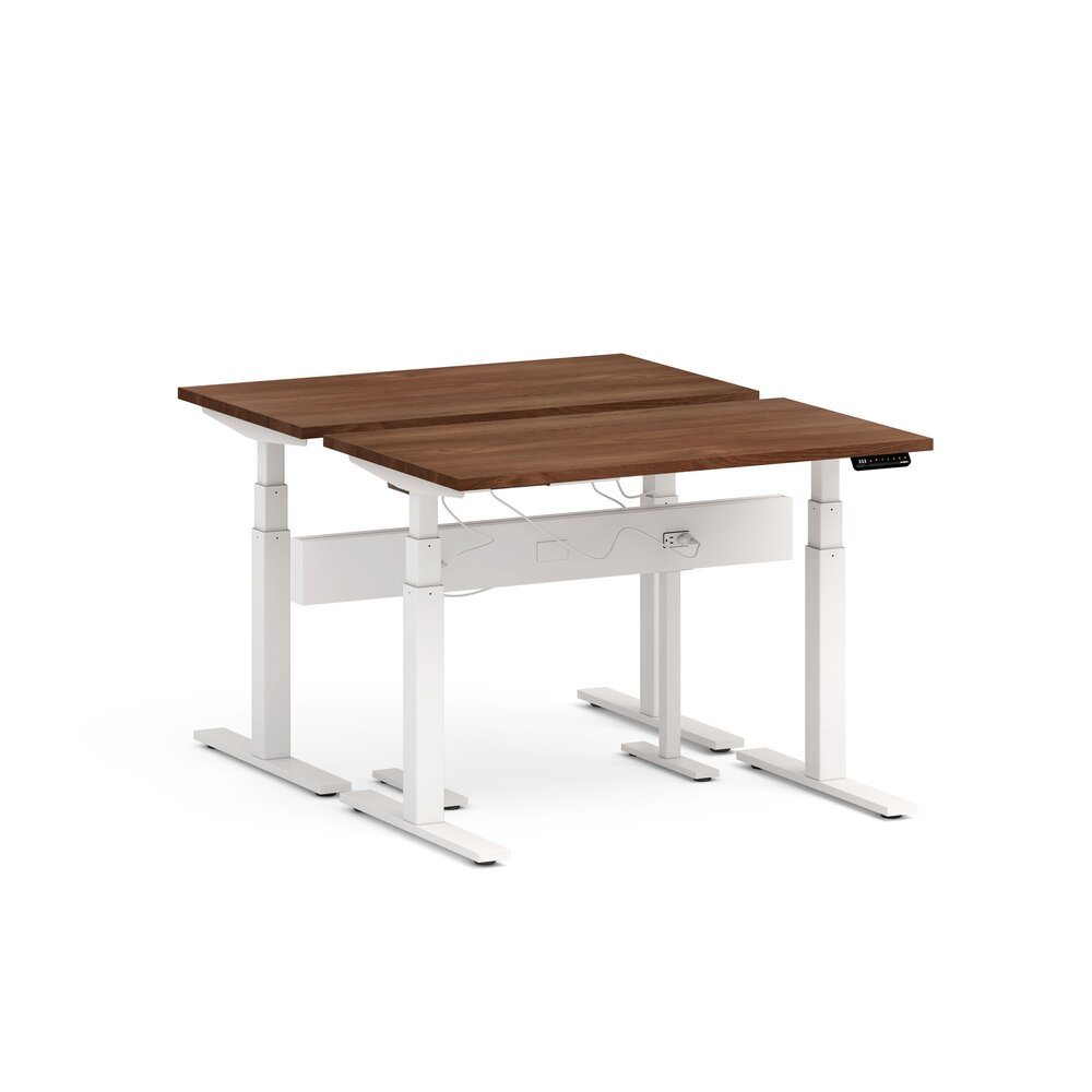 "Series L Desk for 2 + Boom Power Rail, Walnut, 47"", White Legs"