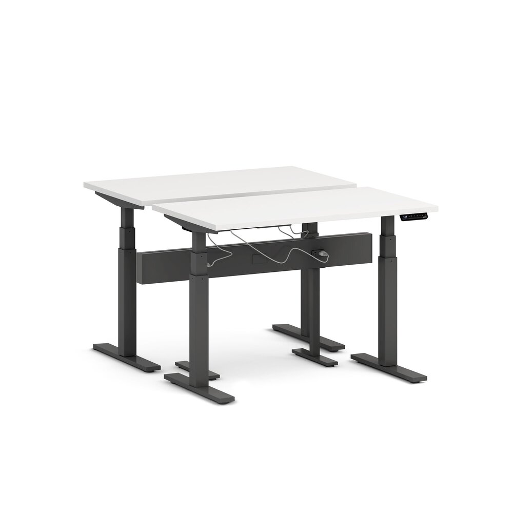 "Series L Desk for 2 + Boom Power Rail, White, 47"", Charcoal Legs"