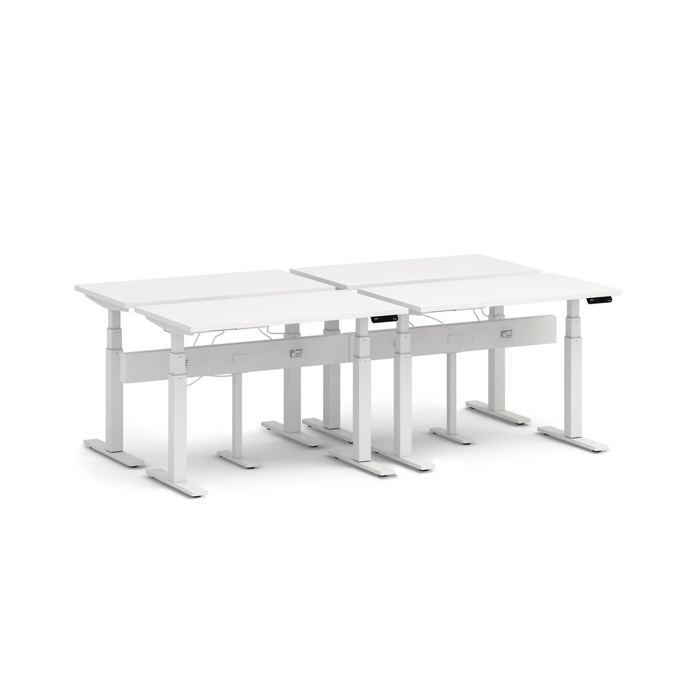 "Series L Desk for 4 + Boom Power Rail, White, 47"", White Legs"