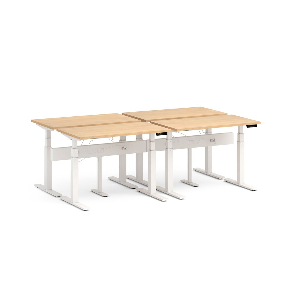 "Series L Desk for 4 + Boom Power Rail, Natural Oak, 47"", White Legs"