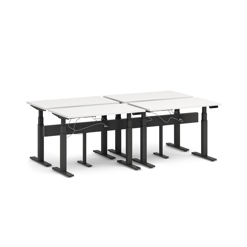 "Series L Desk for 4 + Boom Power Rail, White, 47"", Charcoal Legs"