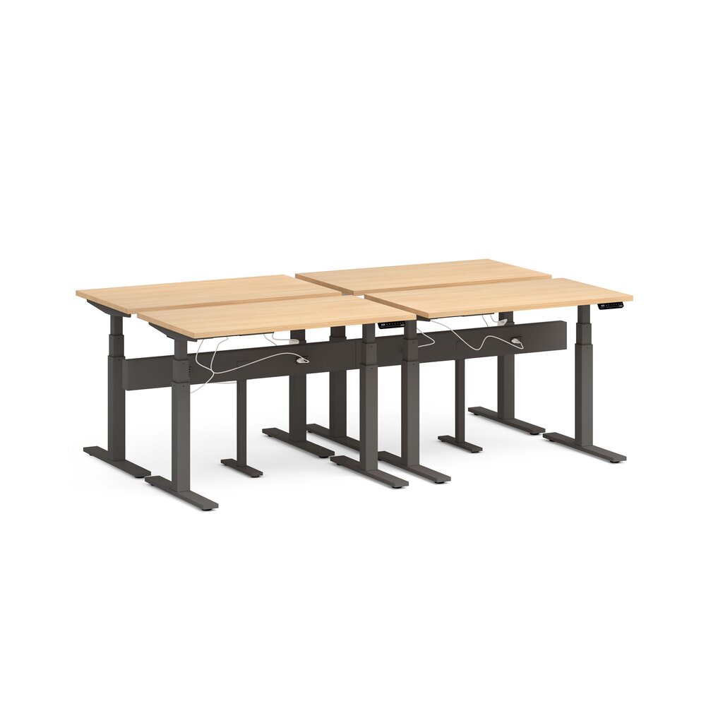"Series L Desk for 4 + Boom Power Rail, Natural Oak, 47"", Charcoal Legs"