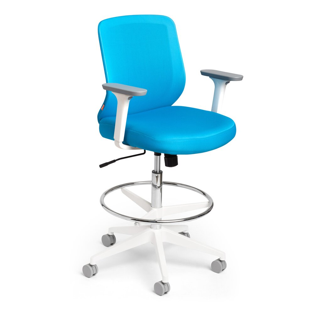 Pool Blue Max Drafting Chair, Mid Back, White Frame