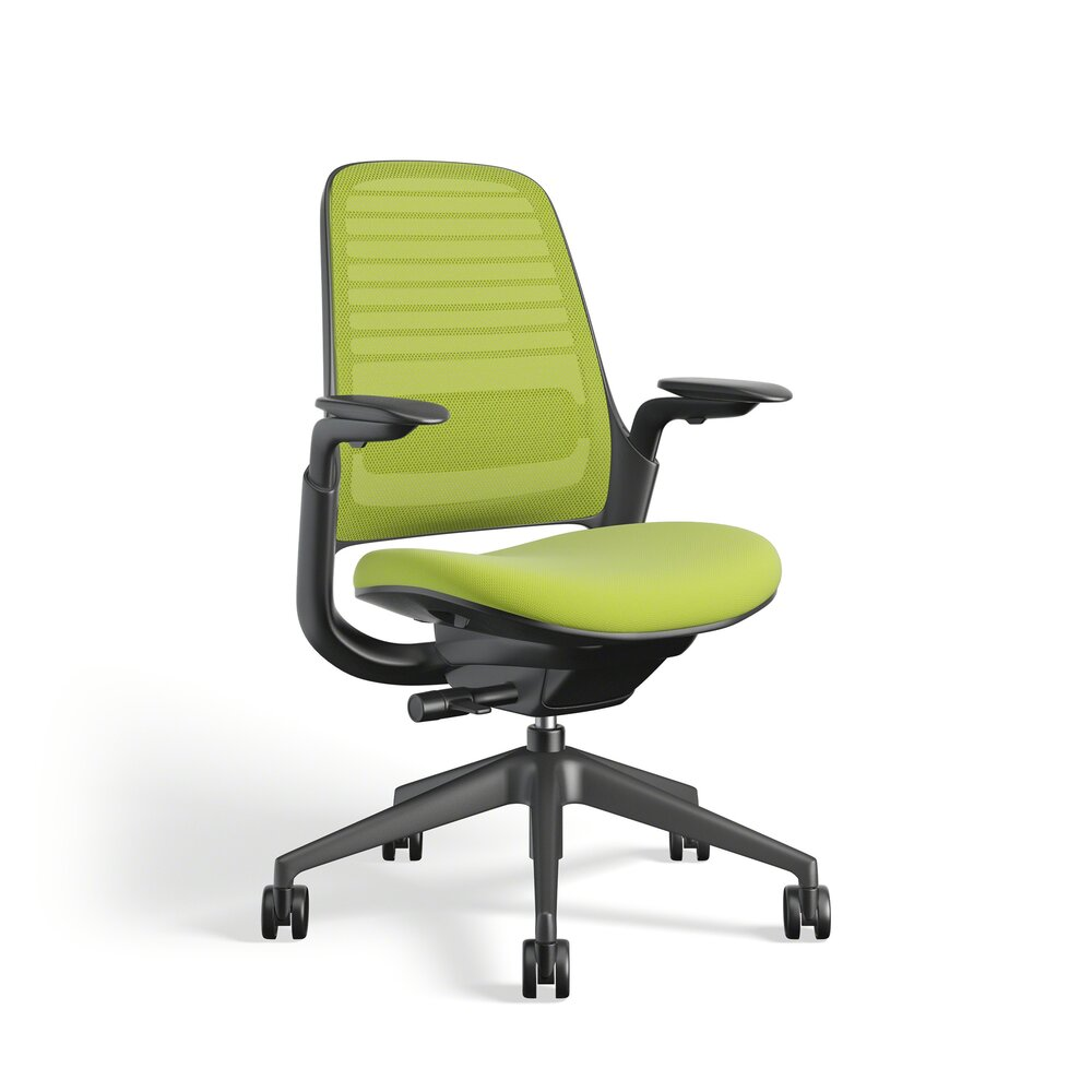 Steelcase Series 1 Chair, Black Frame Lime Green