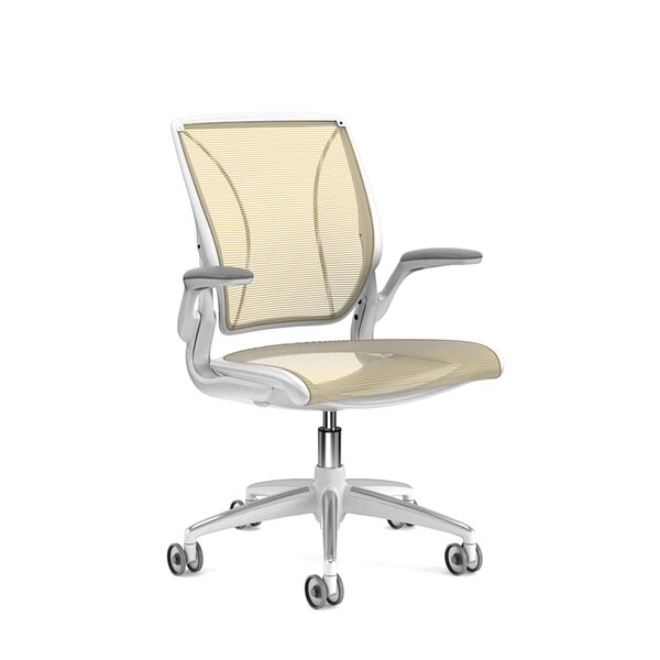 Pinstripe Mesh Yellow World Task Chair, Fixed Arms, White Frame