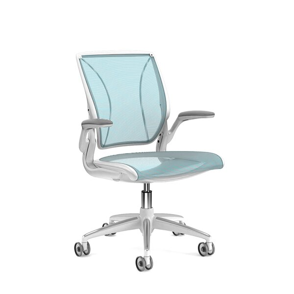 Pinstripe Mesh Blue World Task Chair, Fixed Arms, White Frame
