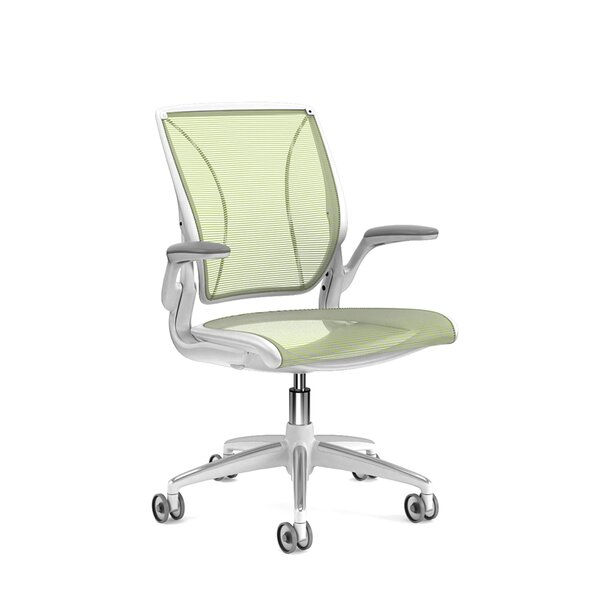 Pinstripe Mesh Green World Task Chair, Fixed Arms, White Frame