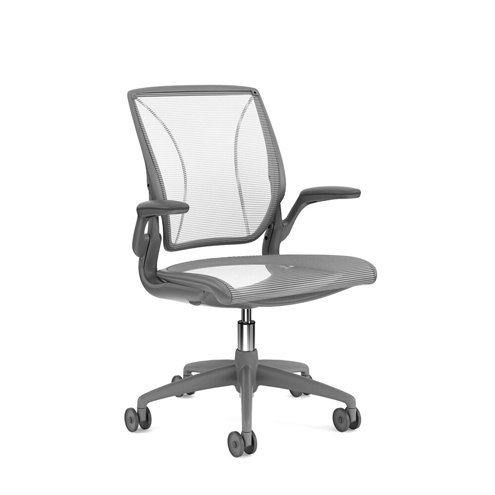 Pinstripe Mesh White World Task Chair, Fixed Arms, Gray Frame