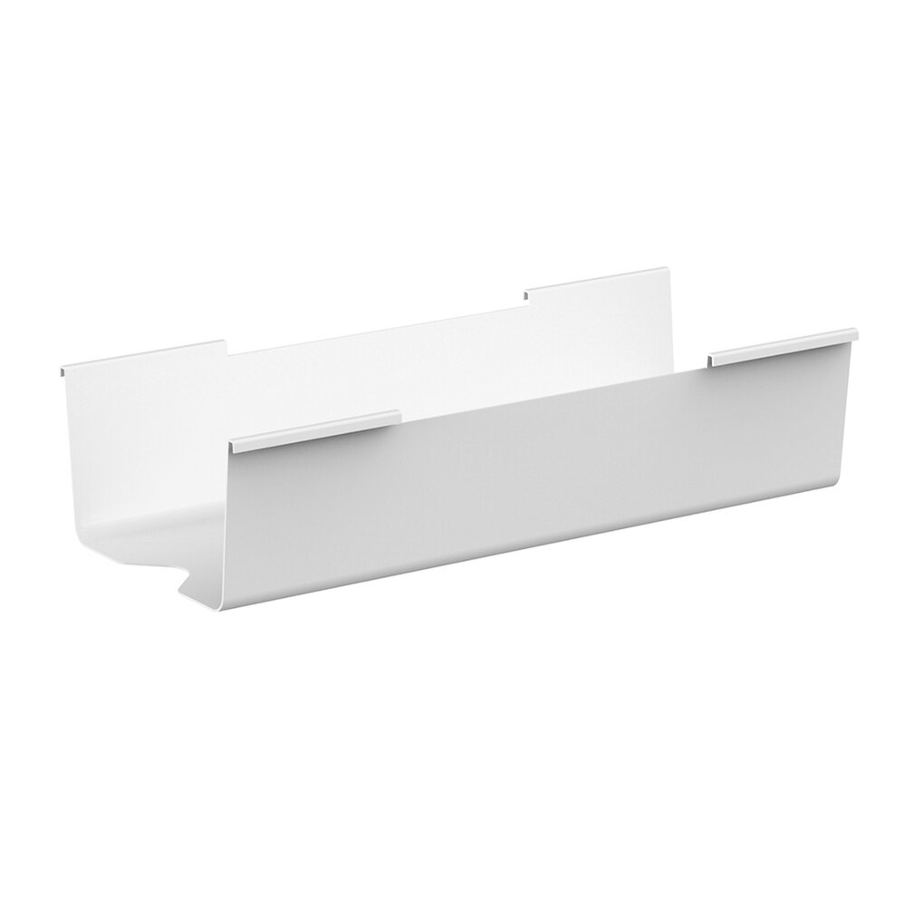 White Series A Double Desk Cable Hideaway