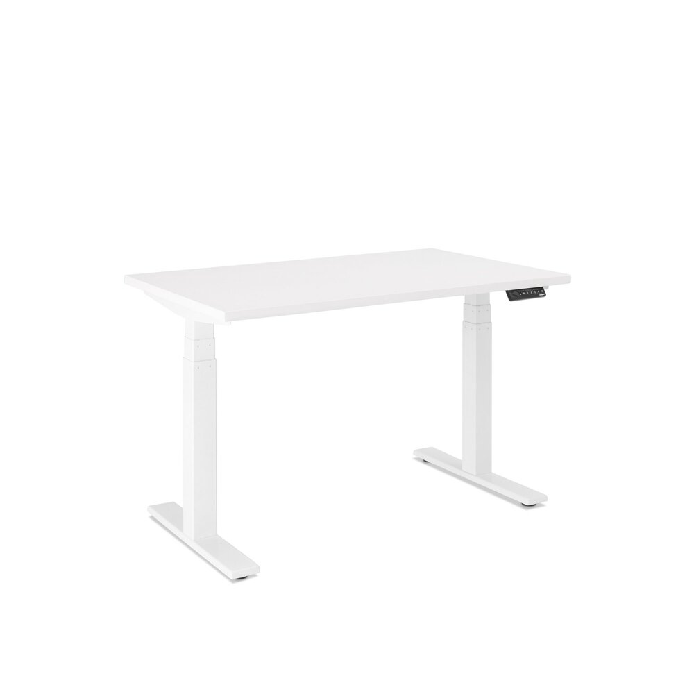 "Series L Adjustable Height Single Desk, White, 47"", White Legs"