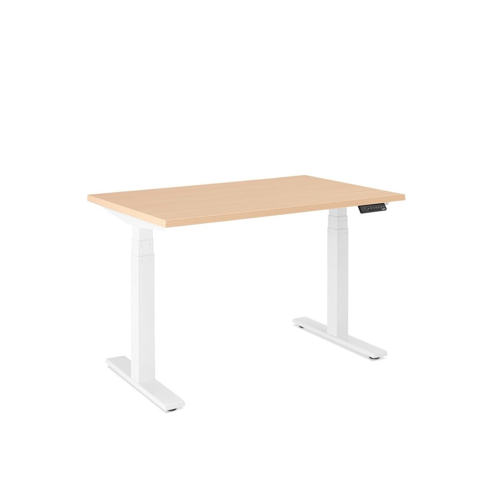"Series L Adjustable Height Single Desk, Natural Oak, 47"", White Legs"