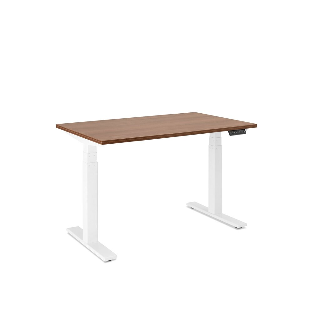 "Series L Adjustable Height Single Desk, Walnut, 47"", White Legs"