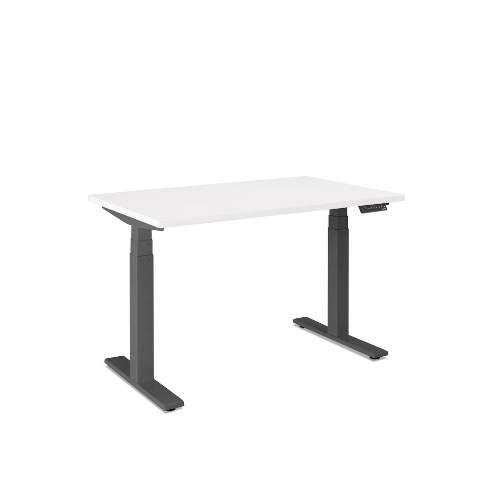 "Series L Adjustable Height Single Desk, White, 47"", Charcoal Legs"