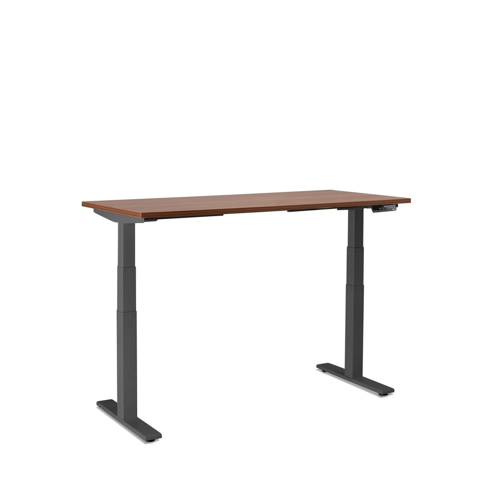 "Series L Adjustable Height Single Desk, Walnut, 47"", Charcoal Legs"