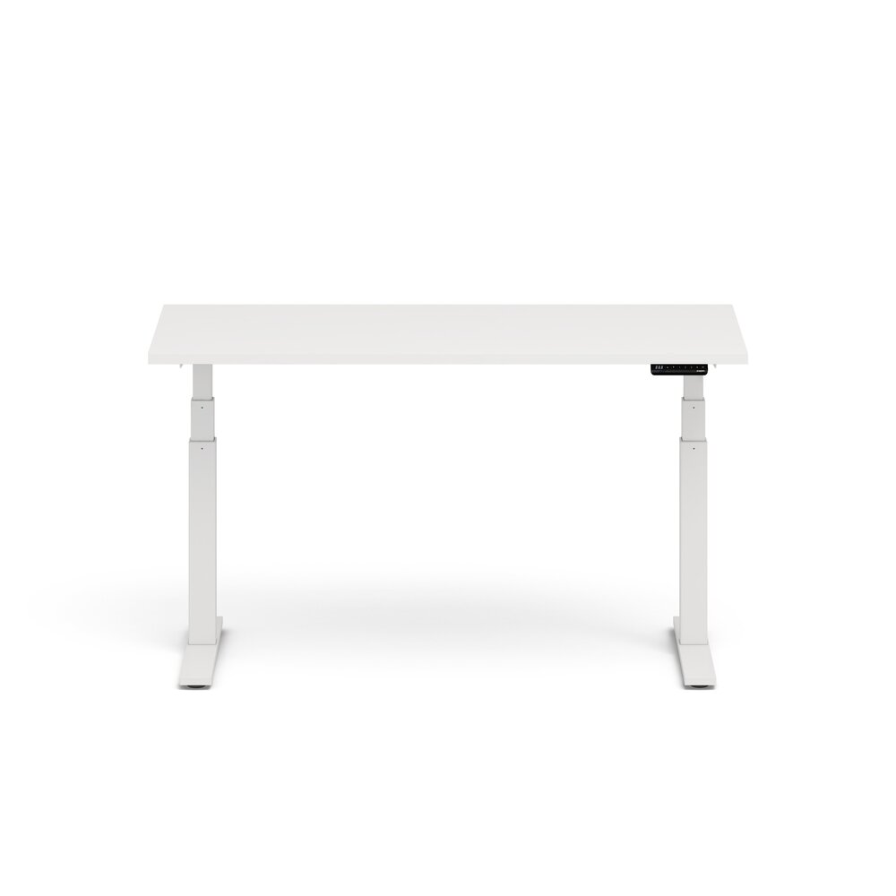 "Series L Adjustable Height Single Desk, White, 60"", White Legs"