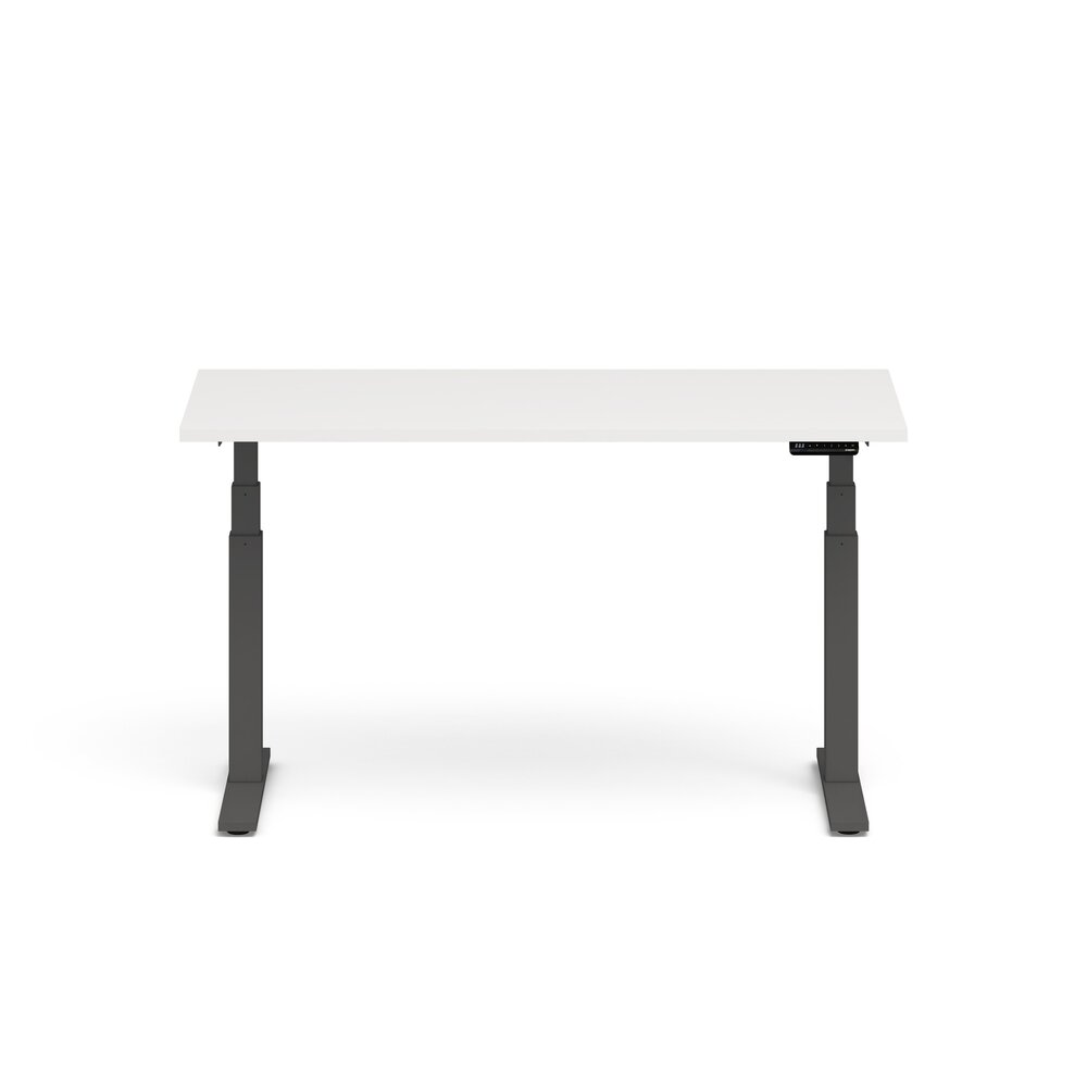 "Series L Adjustable Height Single Desk, White, 60"", Charcoal Legs"
