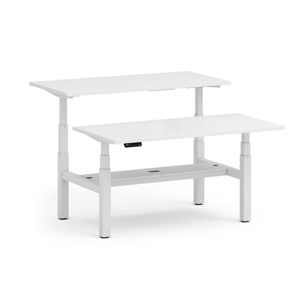 "Series L Adjustable Height Double Desk for 2, White, 57"", White Legs"