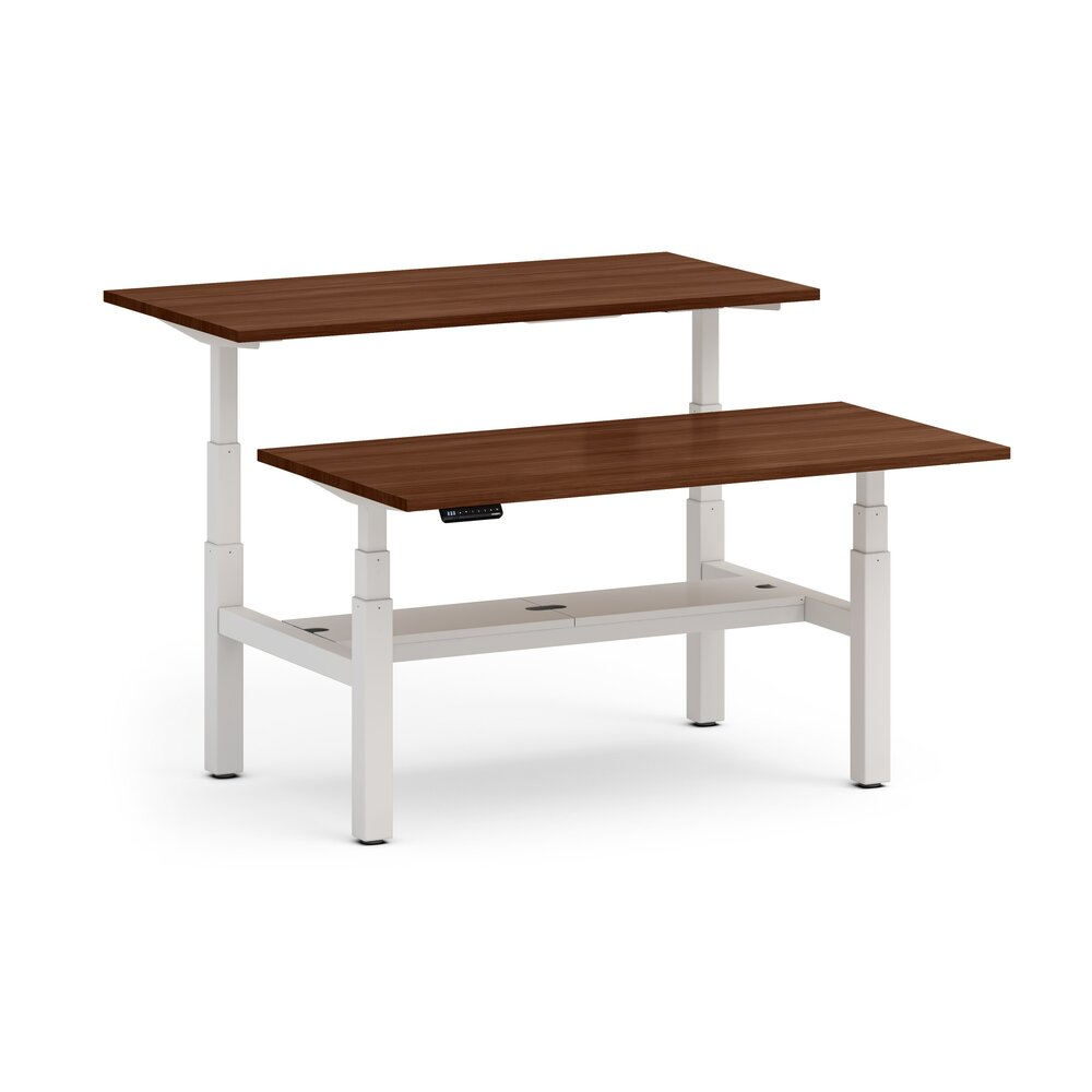 "Series L Adjustable Height Double Desk for 2, Walnut, 60"", White Legs"