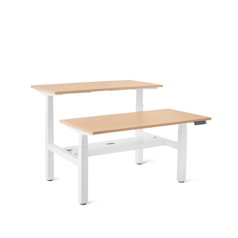 "Series L Adjustable Height Double Desk for 2, Natural Oak, 47"", White Legs"