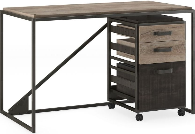 """Refinery 50"""" Industrial Desk With Mobile File Cabinet Rustic Gray"""