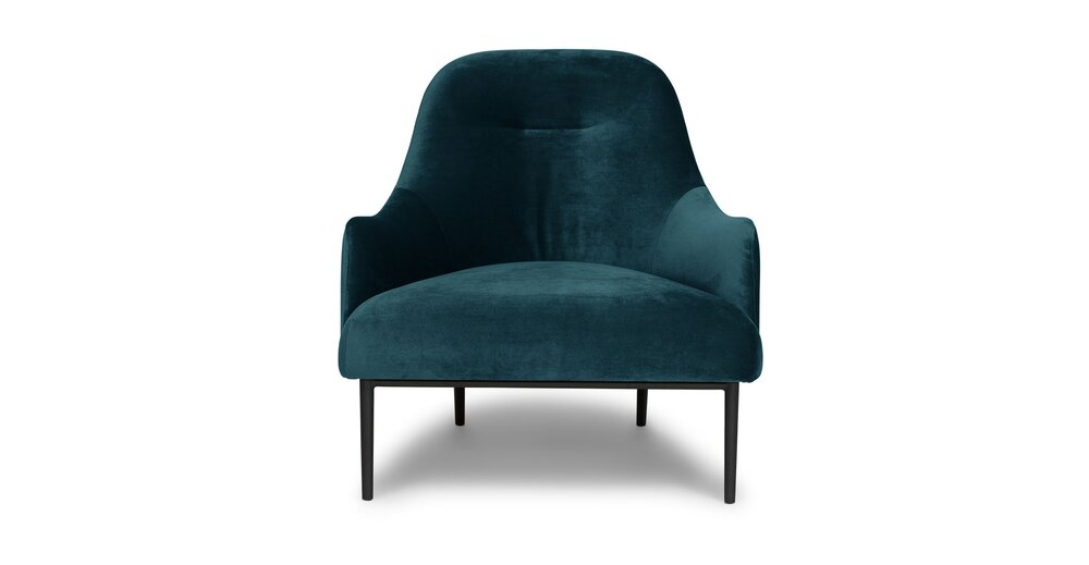 Embrace Lounge Chair Velvet Mercury Blue