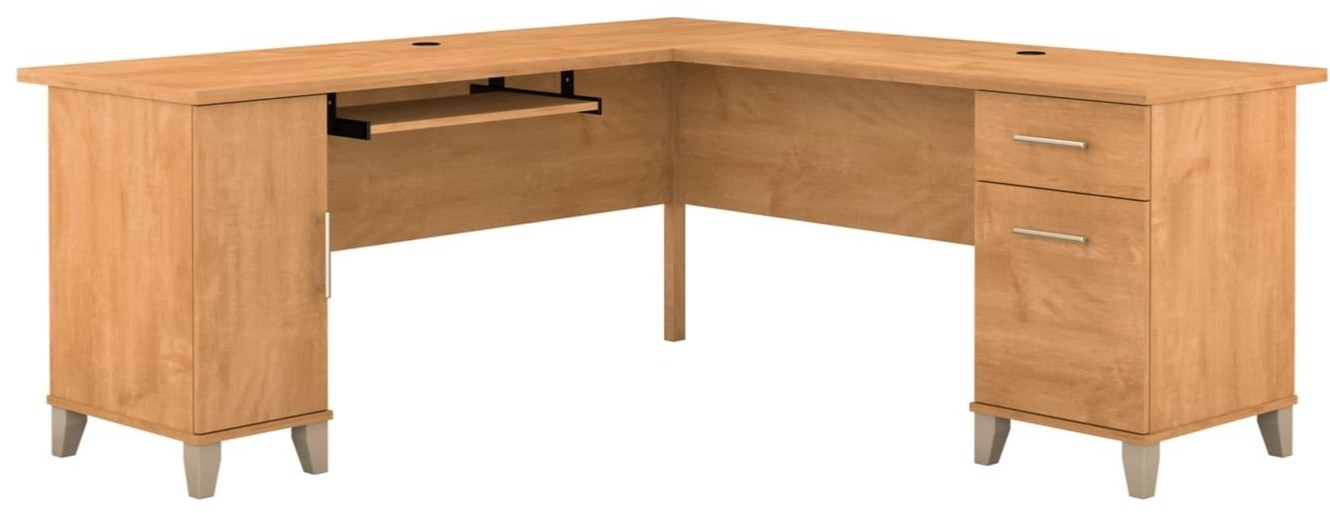 """Somerset 72"""" L Shaped Desk With Storage Maple"""