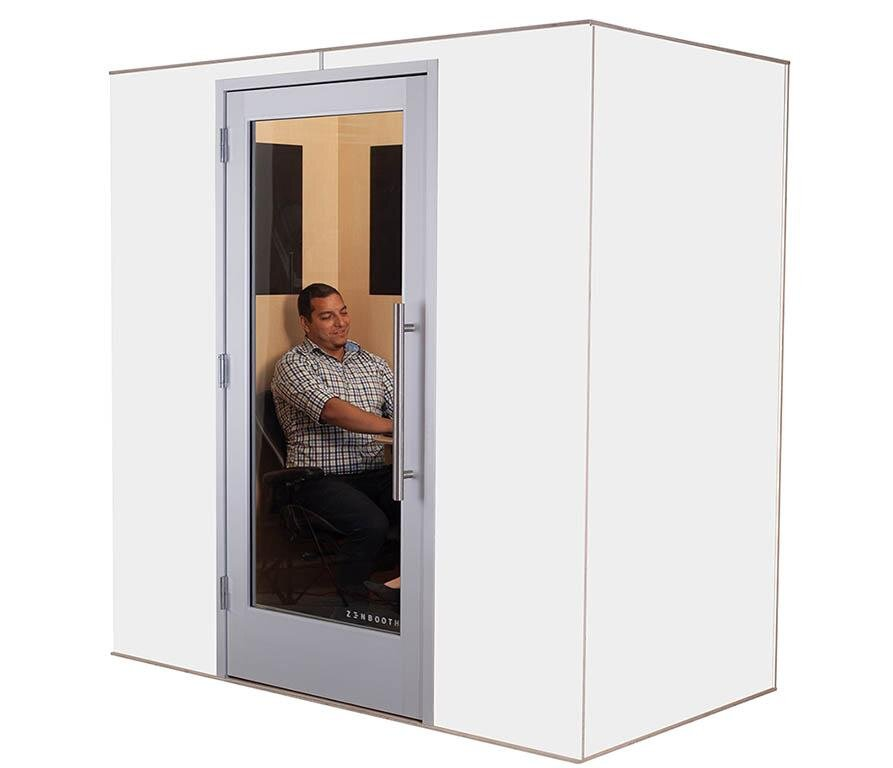 Zonda Meeting Booth for 2, White and Maple